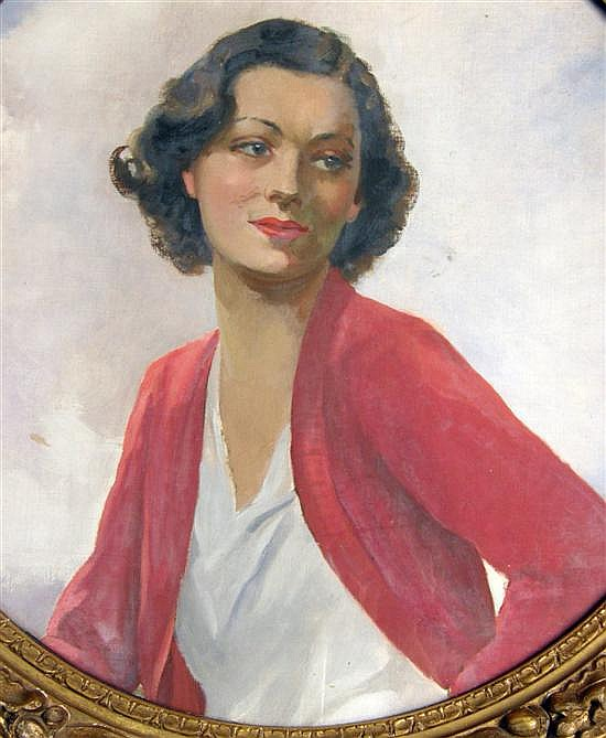 Francis Hodge - portrait of a woman, oil on canvas,