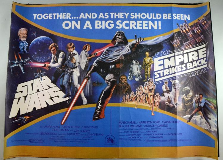 Star Wars, Four British Quad film posters including Star Wars / The Empire Strikes Back double-bill, printed in by W. E. Berry Ltd., with art by Tom Chantrell, The Empire Strikes Back, art by Drew Struzan (rolled double-sided), The Star Wars Trilogy (rolled double-sided) & The Return of the Jedi, art by Drew Struzan (4)
