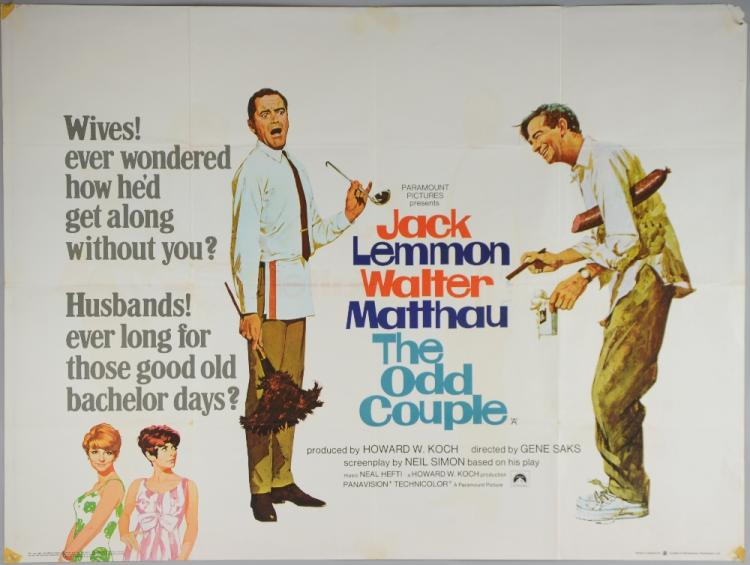 Sold Price: The Odd Couple (1968) British Quad film poster, comedy starring  Jack Lemmon & Walter Matthau, Paramount, folded 30 x 40 inches102 x 76cm  Tape marks to corners otherwise Ex. - April 3, 0115 1:00 PM BST