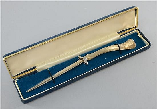 Open mouthed bird handled silver letter opener by A. Norman, import marks for London 1977