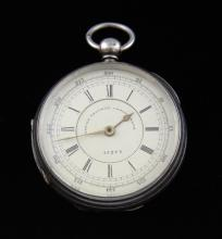 Silver cased 19th century pocket watch, marine dec