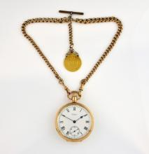9 ct gold Waltham U.S.A. pocket watch, the plain