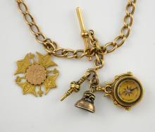 Gold Pocket watch Albert chain, with T-bar, swivel