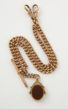 Rose gold Albert chain, with T-bar clasp, to swive