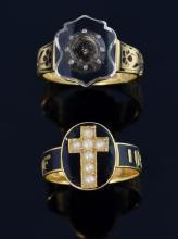 Two 19th C gold mourning rings with black enamel o