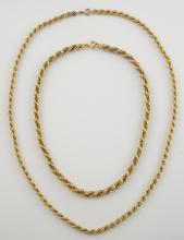Two gold rope chains, one yellow gold entwined  wi