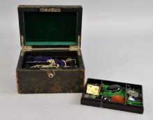 19th century box containing costume jewellery, inc