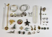 Group of costume jewellery, including Egyptian sil