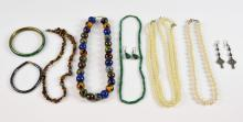A collection of costume jewellery, including malac