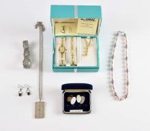 Group of silver and costume jewellery, silver ingo