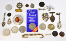 Collection of costume jewellery, four silver medal