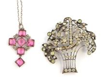 19th C costume jewellery, garnet brooch, garnet se