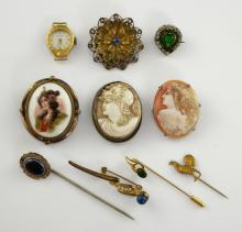 Victorian cameo brooches,another with porcelain pl