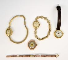 J. W. Benson octagonal form gold watch, three othe