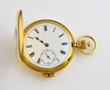 updated description 20th century 18ct gold half hunter repeating pocket  watch,  enamelled with subsidiary second dial  diameter 6cm