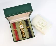 GUCCI - a gold plated quartz lady's bracelet watch