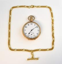 Gold open face pocket watch, white dial with Arabi