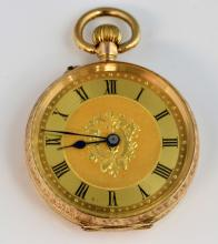 Ladies pocket watch, gilt dial with Roman numerals