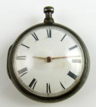 Silver pair cased pocket watch, the white enamelle