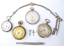 Ladies silver pocket watch with pencils on chain,