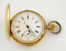 Full hunter pocket watch, round white dial with Ro