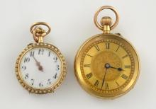 Gold open faced pocket watch, gilt dial with Roman