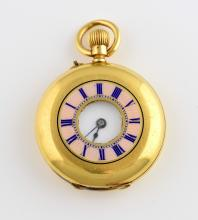 Half hunter pink enamel pocket watch, white dial w