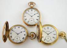 Three pocket watches, including Elgin Natl Watch C