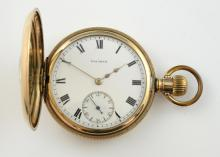 Waltham half hunter pocket watch, round white dial