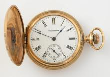 Waltham full hunter pocket watch, white round dial