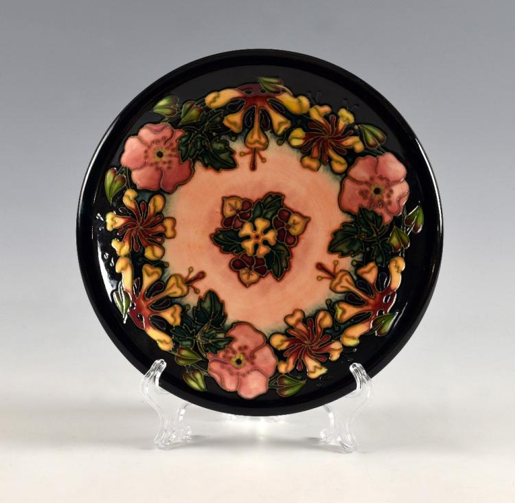 Moorcroft plate, with honeysuckle decoration, ma