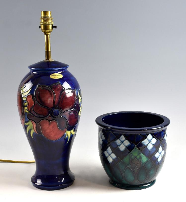 Moorcroft anemone pattern lamp base with deep red