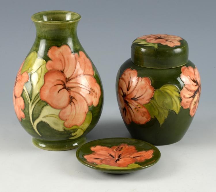 Moorcroft pottery, hibiscus pattern, ginger jar va