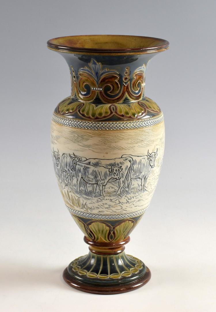 Doulton Hannah Barlow vase with sgraffito decorati