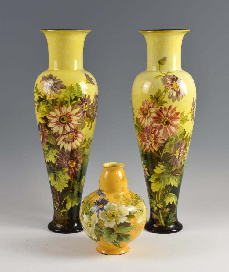 A pair of 19th century Doulton Lambeth faience vas