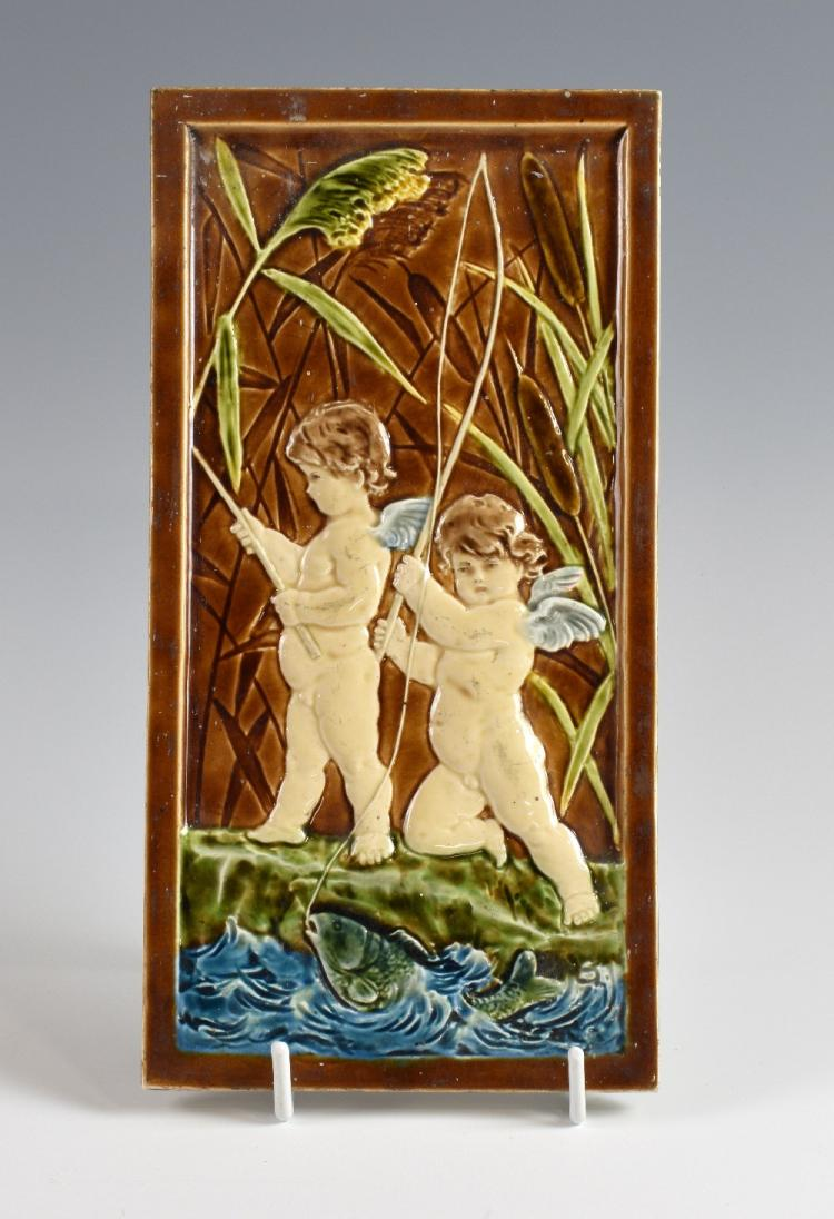 Villeroy & Boch, a tile depicting cherubs and a f