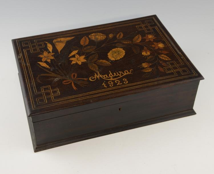 Early 20th century inlaid wooden sewing box, the c