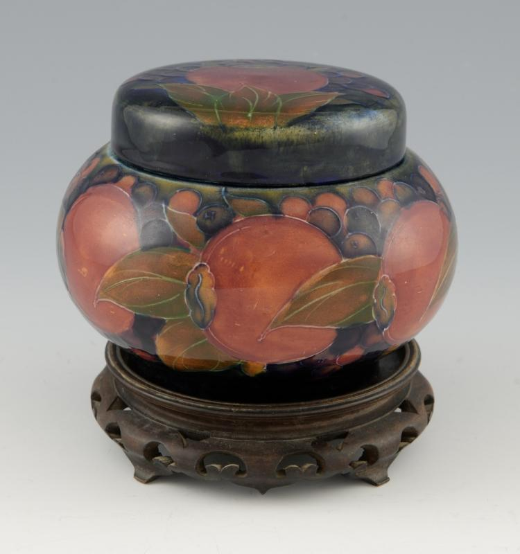 Moorcroft tobacco jar, pomegranate design togethe