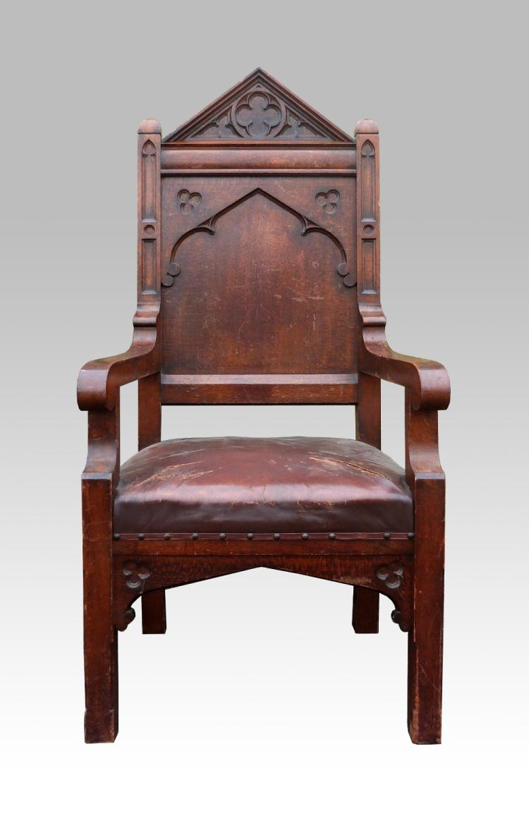 Gothic Revival oak armchair carved with arch, qua