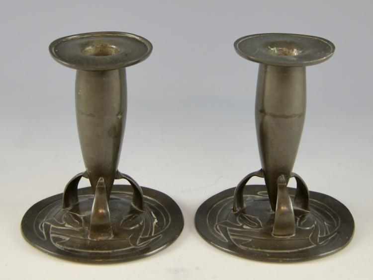 Liberty & Co Tudric, pewter candlesticks, designe
