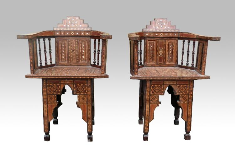 Four early 20th C 'Moorish' style chairs, intricat