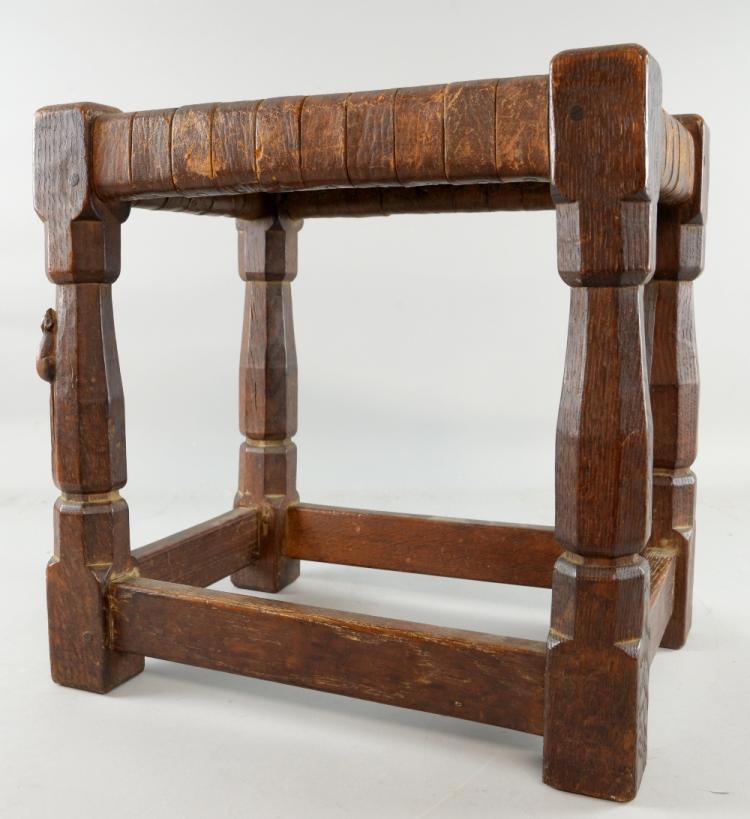 Robert Thompson 'Mouseman' oak joint stool, in ch