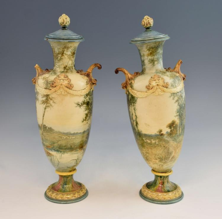 A pair of Royal Doulton vases and covers, decorate