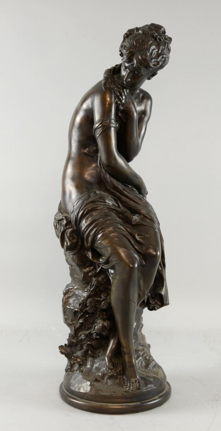 After Auguste Moreau, bronze figure of a semi cla