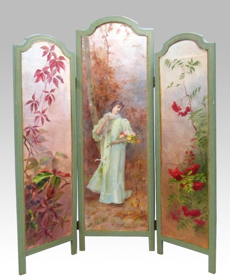 Early 20th C, three-fold screen, the centre panel