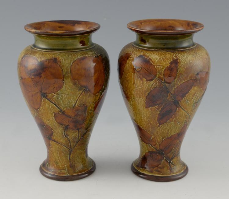 Doulton, a pair of ovoid stoneware vases, impress
