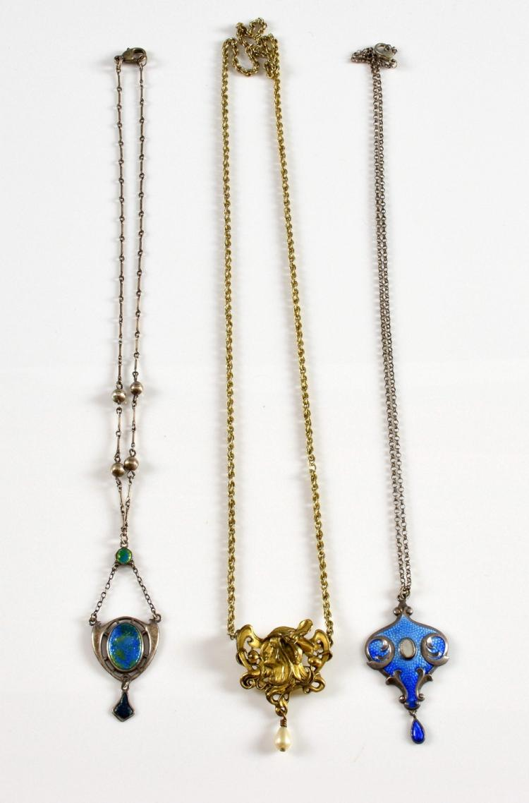 Charles Horner enamel pendant another enamel with