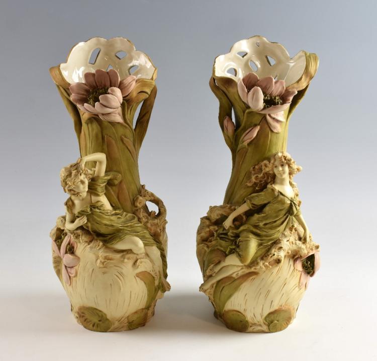 A pair of Royal Dux Art Nouveau figural vases, de