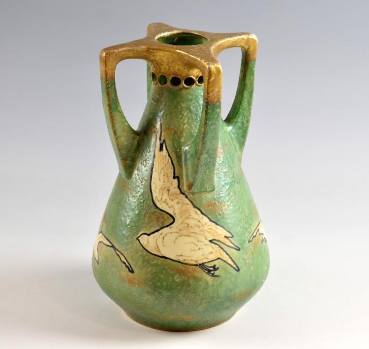 Art Nouveau Austrian Amphora pottery vase, circa 1