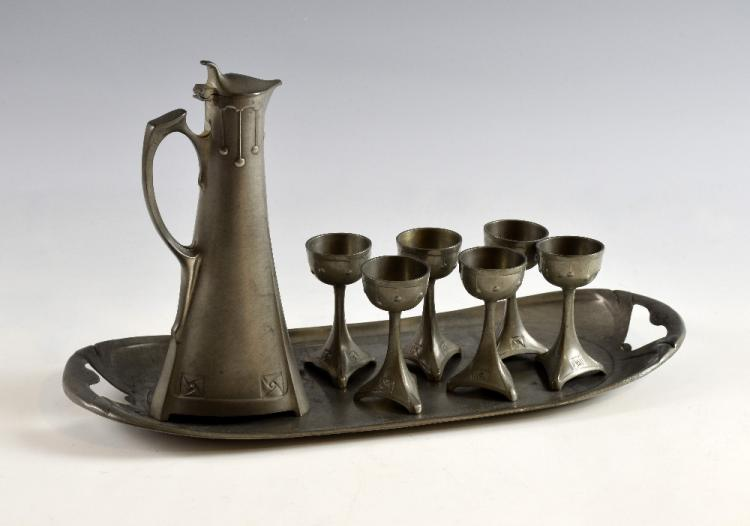 A German Secessionist pewter liqueur set, made by